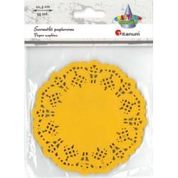 Serwetki koronkowe Titanum papierowe zółte