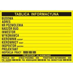Tablica informacyjna budowlana 70x50