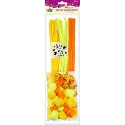 Zestaw żółty drucik kreatywny pompony oczka Titanum 80szt